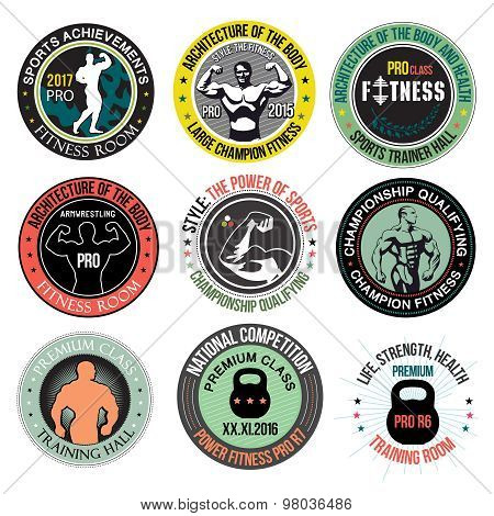 Set Bodybuilding and fitness gym logos, emblems and design elements.