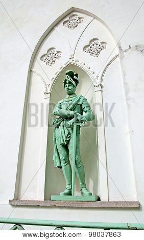 Tsarskoye Selo (Pushkin). Saint-Petersburg, Russia. The German knight on the facade of the White Tow
