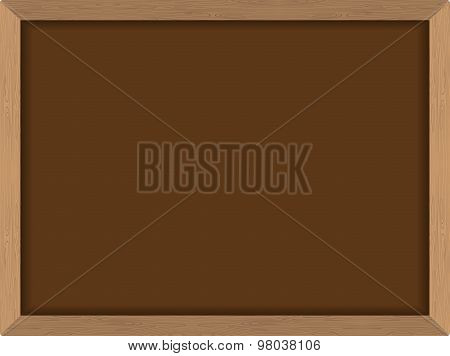 Blackboard Brown With Frame In Wood Texture. Chalk Board Fo  School. School Vector Illustration