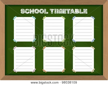 School Schedule. School Timetable Stickers On Blackboard. Vector Illustration.