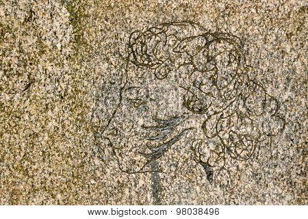 portrait of Pushkin on the stone