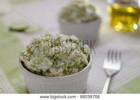 Fresh Cottage Cheese Cucumber Salad With Olive Oil And Dill