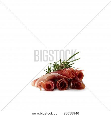 5 Parma Ham Slices With Fresh Rosemary Branch On Top