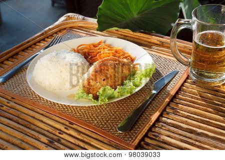 Chicken Escalope With Steamed Rice And Carrot Salad