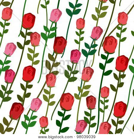 Roses Seamless Pattern. Rose With A Long Stem And Leaves. Vector Vintage Background Of Beautiful Red