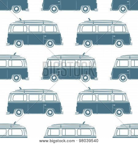 Retro vintage travel camper van with surfing board seamless pattern.