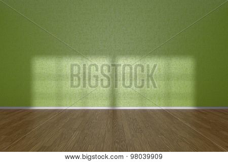 Green Wall Of Empty Room With Parquet Floor