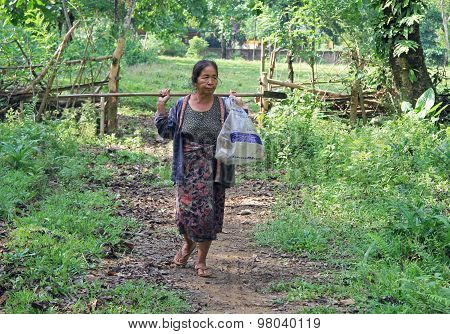 peasant woman are going to cultivate the land