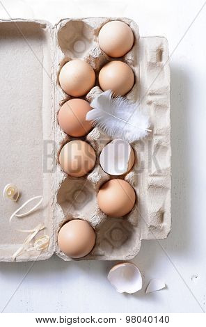 Farm Fresh Eggs In Egg Carton.
