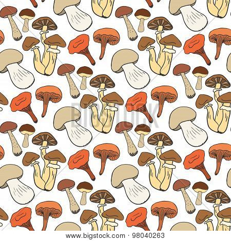 Hand drawn mushrooms seamless pattern in color. Doodle sketch vector background with edible mushroom