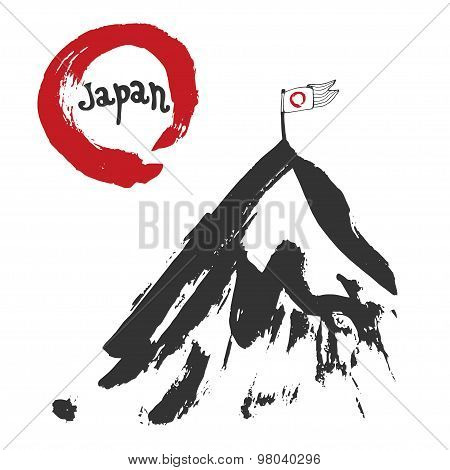 Japan mountain and red sun flag. Sumi-e. Red zen circle hand-drawn with ink. Vector