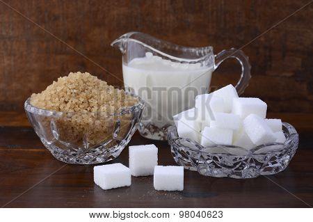 Cream And Sugar In Crystal Glassware.