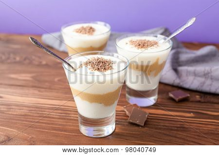 chocolate and vanilla mousse