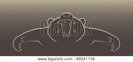 angry bear illustration logo