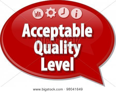 Speech bubble dialog illustration of business term saying Acceptable Quality Level
