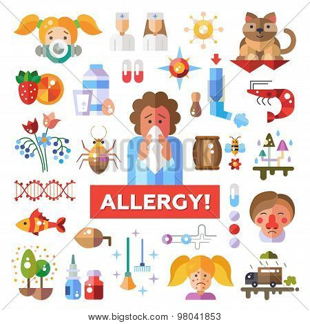 Set of flat design allergy and allergen icons, infographics elements