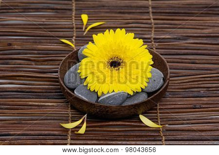Yellow gerber with gray stones in bowl on mat,petals