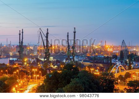 Gdansk shipyard at night.