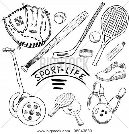 Sport Sketch Doodles Elements. Hand Drawn Set With Baseball Bat And Glove, Segway Bowlong, Hokkey Te