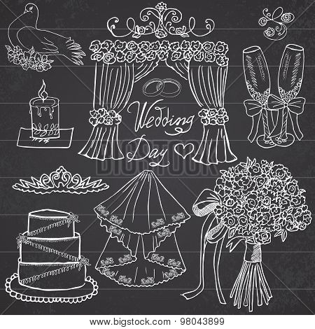 Wedding Day Elements. Hand Drawn Set With Flowers, Candle, Glasses For Champaign And Festive Attribu