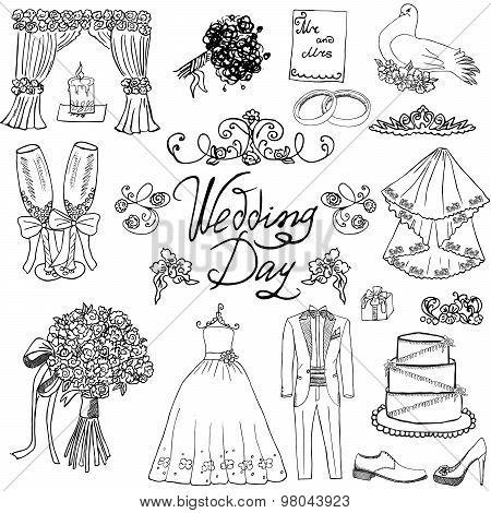 Wedding Day Elements. Hand Drawn Set With Flowers Candle Bride Dress And Tuxedo Suit, Shoes, Glasses
