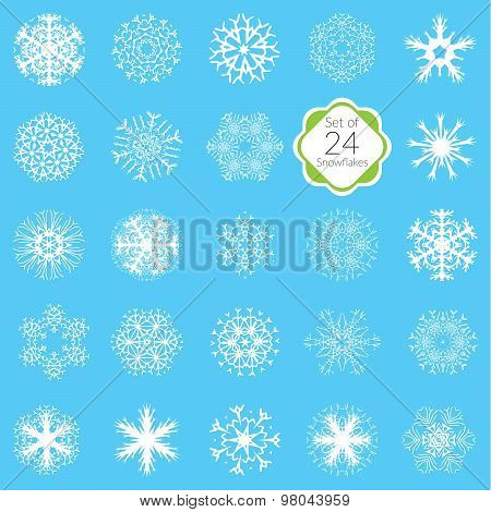 Vector Illustration Snowflakes Set, Various Designs Symmetrical Snow Crystals, Made Forom Hand Drawn