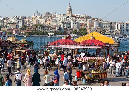 Eminonu Harbor, Beyoglu District Over The Golden Horn Bay In Istanbul, Turkey