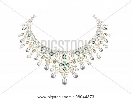 illustration of woman's necklace with pearls and precious stones