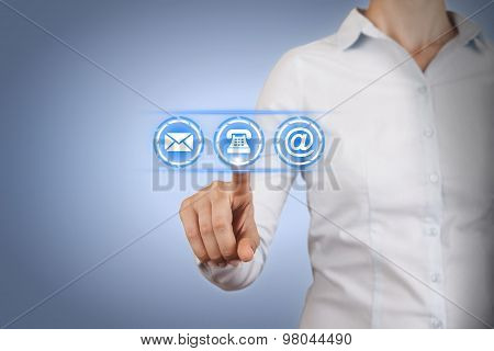 Contact Us Conceptual on Touch Screen
