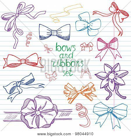 Hand Drawn Ribbons And Bows Set Vector Illustration. A Collection Of Graphic Ribbons And Bows, Desig