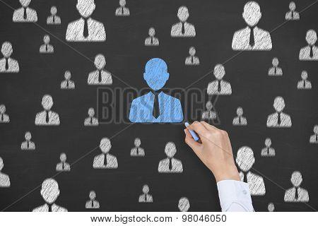 Human Resource Conceptual Drawing on Blackboard Texture