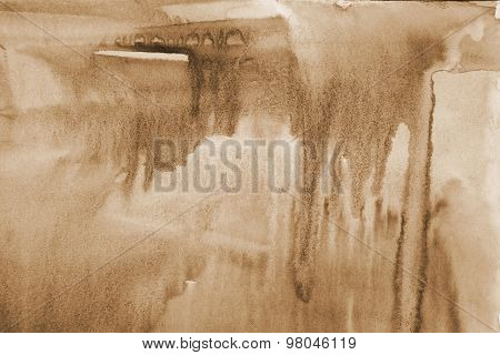 Abstract Watercolor Background On Paper Texture. In Sepia Toned. Retro Style