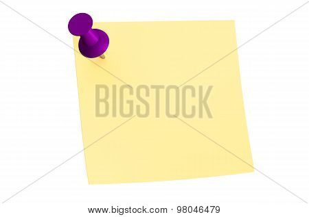 Purple Push Pin With Blank Sticky Note