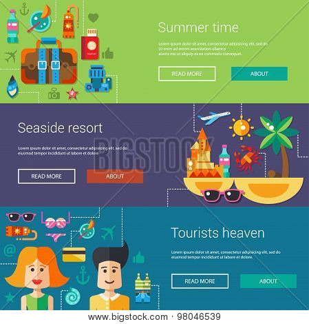 Set of flat design flyers, headers with summer time and vacation icons, infographics elements