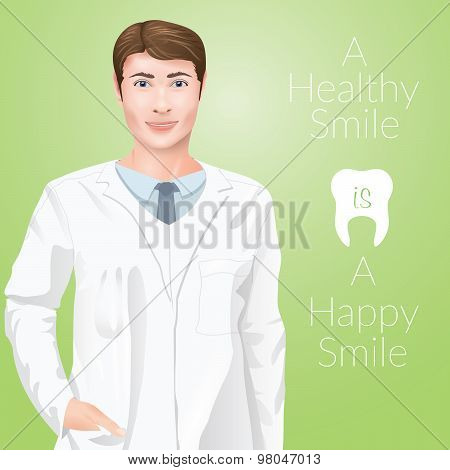 Young Man Stomathology Doctor Dentist, In A Medic Uniform On Green Background