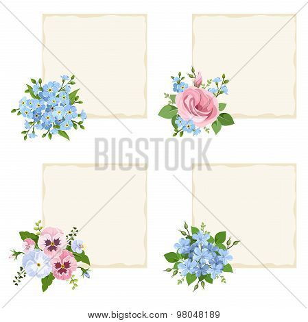 Vector cards with various blue and pink flowers.