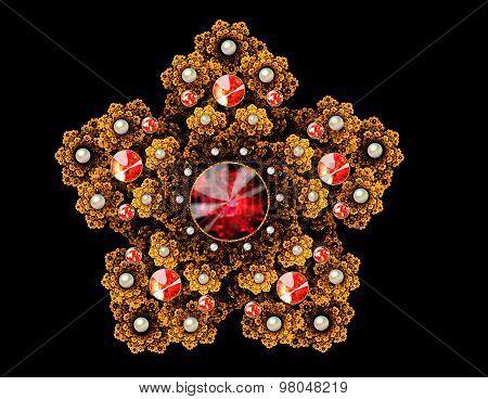 fractal illustration brooch with precious stones on a dark backg
