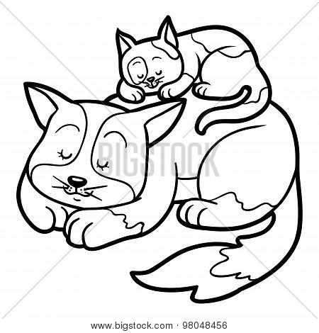 Coloring Book For Children (two Spotted Cats)