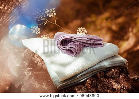 Golden morning beautiful nature backgroundwith towels in autumn