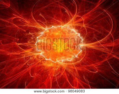 Red Fiery Explosion In Space