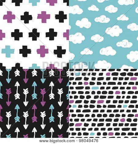 Colorful geometric clouds cross plus sign Indian arrows and abstract isolated shapes background pattern set in vector