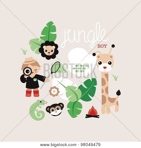 Hi there jungle boy cute safari postcard illustration giraffe lion lizard and monkey kids adventure background cover design in vector