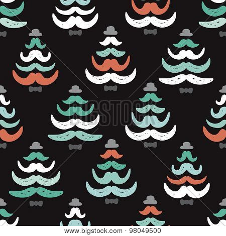 Seamless hipster dude mustache Christmas tree illustration holiday decoration paper background design or wrapping paper in vector