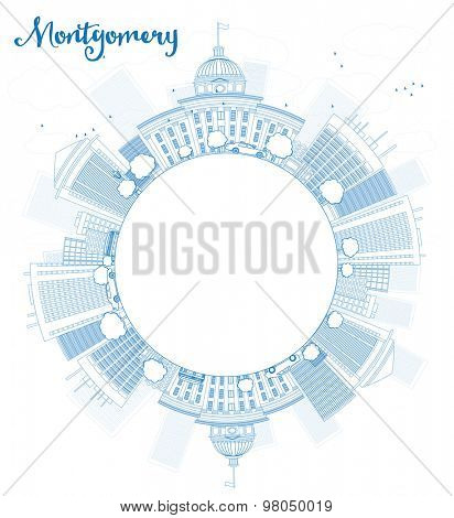 Outline Montgomery Skyline with Blue Building and copy space. Alabama. Vector Illustration