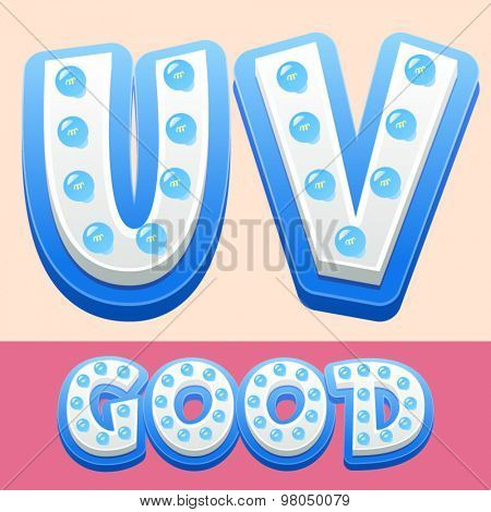 Vector cool lamp alphabet in comic style.  Letters U V