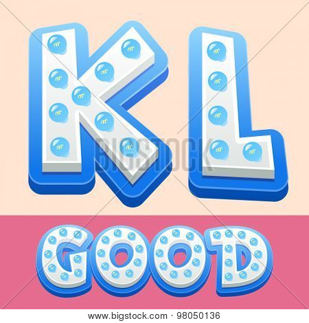 Vector cool lamp alphabet in comic style.  Letters K L