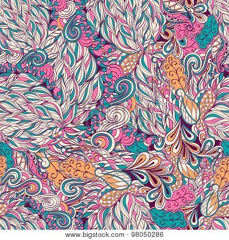 Seamless hina mehndi tracery design. Paisley, winding stem, spiral, wave, bud mehndi doodle. Handmad