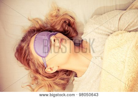 Sleeping Woman Wearing Blindfold Sleep Mask.