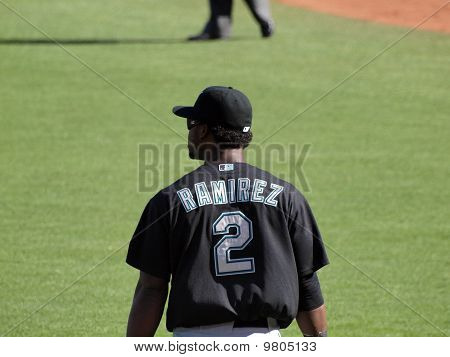 Close-up Of Marlins Hanley Ramirez Backside With Name On Jersey Visible
