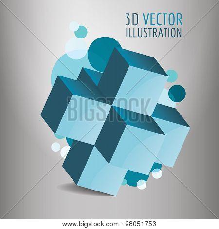 3D vector cube illustration